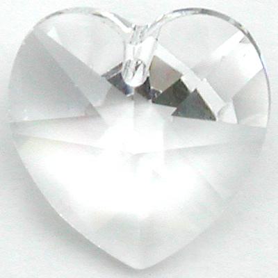 Swarovski Crystal 10mm Heart Pendant 6228 - Clear - Transparent Finish