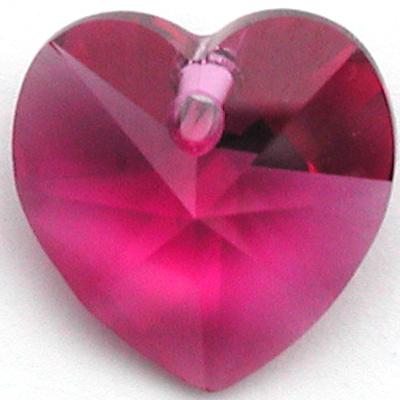 Swarovski Crystal 10mm Fuchsia Heart Pendant 6228 - Dark Pink - Transparent Finish