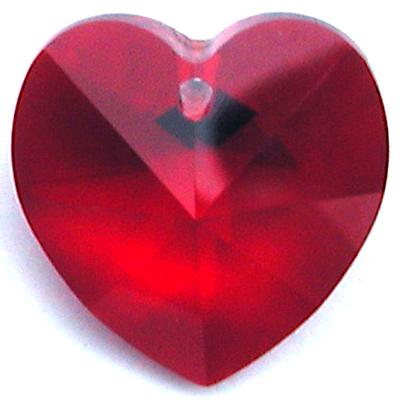 Swarovski Crystal 10mm Siam Heart Pendant 6228 - Deep Red - Transparent Finish