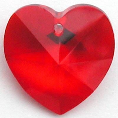 Swarovski Crystal 14mm Light Siam Heart Pendant 6228 - Light Red - Transparent Finish