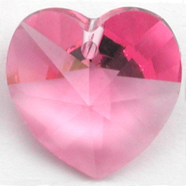 Swarovski Crystal 14mm Rose Heart Pendant 6228 - Pink - Transparent Finish