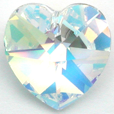 Swarovski Crystal 40mm Heart Pendant 6202 and 6228 - Crystal AB - Clear - Transparent Iridescent Finish | Harlequin Beads and Jewelry