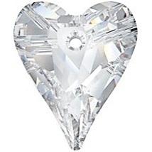 Swarovski Crystal 12mm Wild Heart Pendant 6240 - Crystal - Clear - Transparent Finish