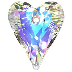 Swarovski Crystal 12mm Wild Heart Pendant 6240 - Crystal AB - Clear - Transparent Iridescent Finish