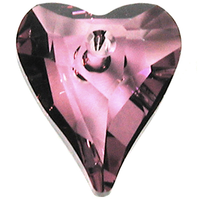 Swarovski Crystal 12mm Wild Heart Pendant 6240 - Crystal Antique Pink - Transparent Finish