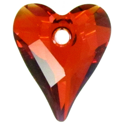 Swarovski Crystal 12mm Wild Heart Pendant 6240 - Red Magma - Transparent Finish