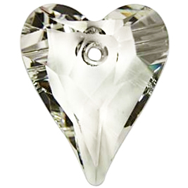 Swarovski Crystal 17mm Wild Heart Pendant 6240 - Crystal Silver Shade - Transparent with Finish | Harlequin Beads and Jewelry