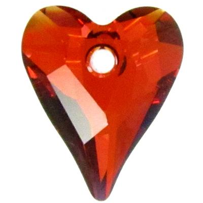 Swarovski Crystal 17mm Wild Heart Pendant 6240 - Red Magma - Transparent Finish
