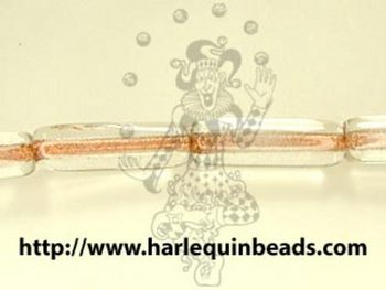 Czech Pressed Glass 4 x 14mm Tube Bead - Crystal - Transparent Finish with Copper Lining | Harlequin Beads and Jewelry