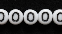 Czech Pressed Glass 6mm Number Zero 0 Bead - White with Black - Opaque Finish