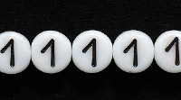 Czech Pressed Glass 6mm Number 1 Bead - White with Black - Opaque Finish