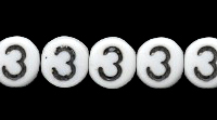 Czech Pressed Glass 6mm Number 3 Bead - White with Black - Opaque Finish