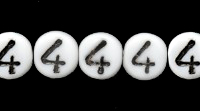 Czech Pressed Glass 6mm Number 4 Bead - White with Black - Opaque Finish