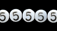 Czech Pressed Glass 6mm Number 5 Bead - White with Black - Opaque Finish