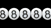 Czech Pressed Glass 6mm Number 8 Bead - White with Black - Opaque Finish