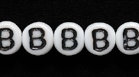 Czech Pressed Glass 6mm Letter B Bead - White with Black - Opaque Finish