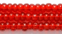 Czech Pony Glass Seed Bead Size 6 - Ruby Red - Transparent Finish