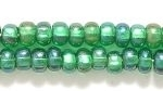 Czech Pony Glass Seed Bead Size 6 - Christmas Green AB - Silver Lined Iridescent Finish