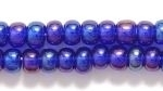Czech Pony Glass Seed Bead Size 6 - Cobalt Blue AB - Transparent Iridescent Finish