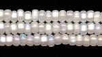 Czech Glass Seed Bead Size 8 - Opal White - Silver Lined Iridescent Matte Finish