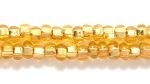 Czech Glass Seed Bead Size 8 - Gold Topaz - Silver Lined