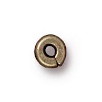 Metal Beads 4mm Kenyan flat brass oxide lead free pewter | Metal Beads