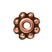 6mm Daisy Metal Beads and Spacers - Antique Copper Finish