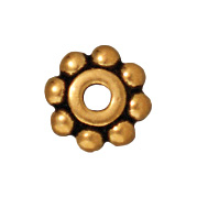 6mm Daisy Spacer Metal Beads - Antique Gold Finish