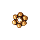 3mm Daisy Spacer Metal Beads - Antique Gold Finish