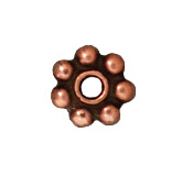 5mm Daisy Spacer Metal Beads - Antique Copper Finish