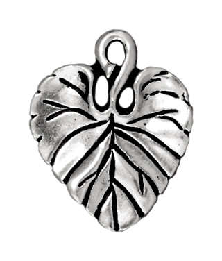 18 x 15mm Antique Silver Violet Leaf Charm | TierraCast Lead-free Pewter Base Metal Charms