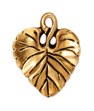 18 x 15mm Antique Gold Violet Leaf Charm | TierraCast Lead-free Pewter Base Metal Charms