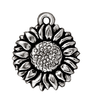 15mm Antique Silver Sunflower Charm   TierraCast Lead-free Pewter Base Metal Charms