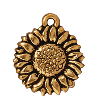 15mm Antique Gold Sunflower Charm | TierraCast Lead-free Pewter Base Metal Charms