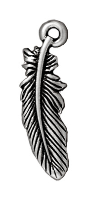 23mm Antique Silver Feather Charm | TierraCast Lead-free Pewter Base Metal Charms