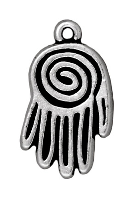 Antique Silver Spiral Hand Charm | TierraCast Lead-free Pewter Base Metal Charms
