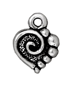 10mm Antique Silver Spiral Heart Charm | TierraCast Lead-free Pewter Base Metal Charms