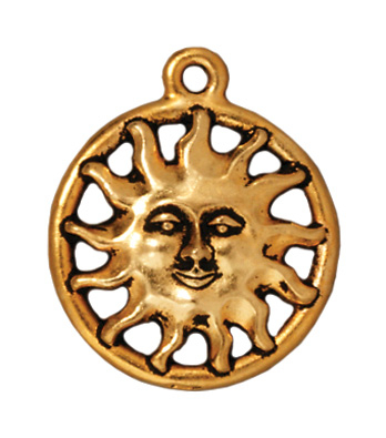 16mm Antique Gold Sun with Face Charm | TierraCast Lead-free Pewter Base Metal Charms