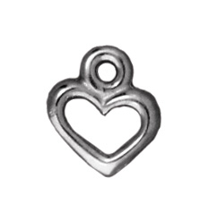 10 x 8mm Antique Silver Open Heart Charm | TierraCast Lead-free Pewter Base Metal Charms