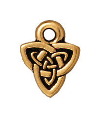8mm Antique Gold Celtic Triad Charm | TierraCast Lead-free Pewter Base Metal Charms