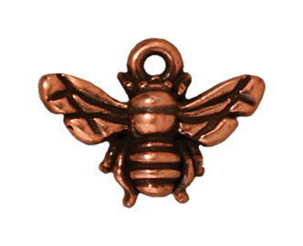 16mm Antique Copper Honeybee Charm | TierraCast Lead-free Pewter Base Metal Charms