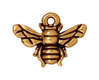 16mm Antique Gold Honeybee Charm | Lead-free Pewter Base Metal Charms for Making Jewelry | Harlequin Beads and Jewelry