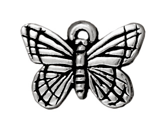 16mm Antique Silver Butterfly Charm | TierraCast Lead-free Pewter Base Metal Charms