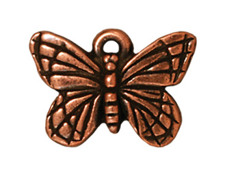 16mm Antique Copper Butterfly Charm | TierraCast Lead-free Pewter Base Metal Charms