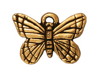 16mm Antique Gold Butterfly Charm   TierraCast Lead-free Pewter Base Metal Charms