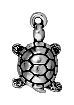 11 x 18mm Antique Silver Turtle Charm | TierraCast Lead-free Pewter Base Metal Charms