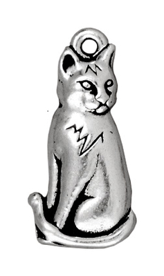 23mm Antique Silver Sitting Cat Charm | TierraCast Lead-free Pewter Base Metal Charms
