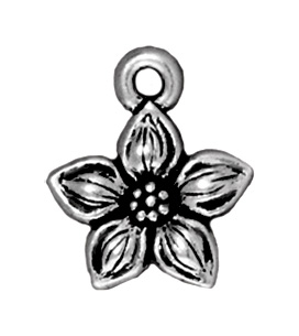 11mm Antique Silver Star Jasmine Charm | TierraCast Lead-free Pewter Base Metal Charms