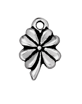 13 x 8mm Antique Silver 4 Leaf Clover Good Luck Charm | TierraCast Lead-free Pewter Base Metal Charms