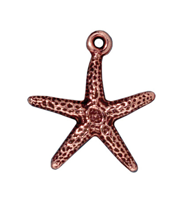 20mm Antique Copper Starfish Charm | TierraCast Lead-free Pewter Base Metal Charms